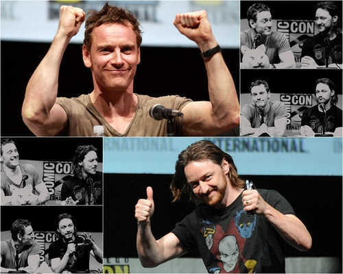 James McAvoy and Michael Fassbender 壁紙 containing a テニス pro entitled McFassy at Comic Con