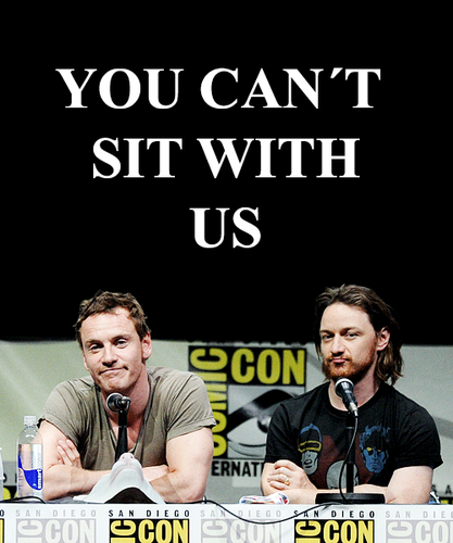 James McAvoy and Michael Fassbender wallpaper possibly with a sign titled McFassy at Comic Con