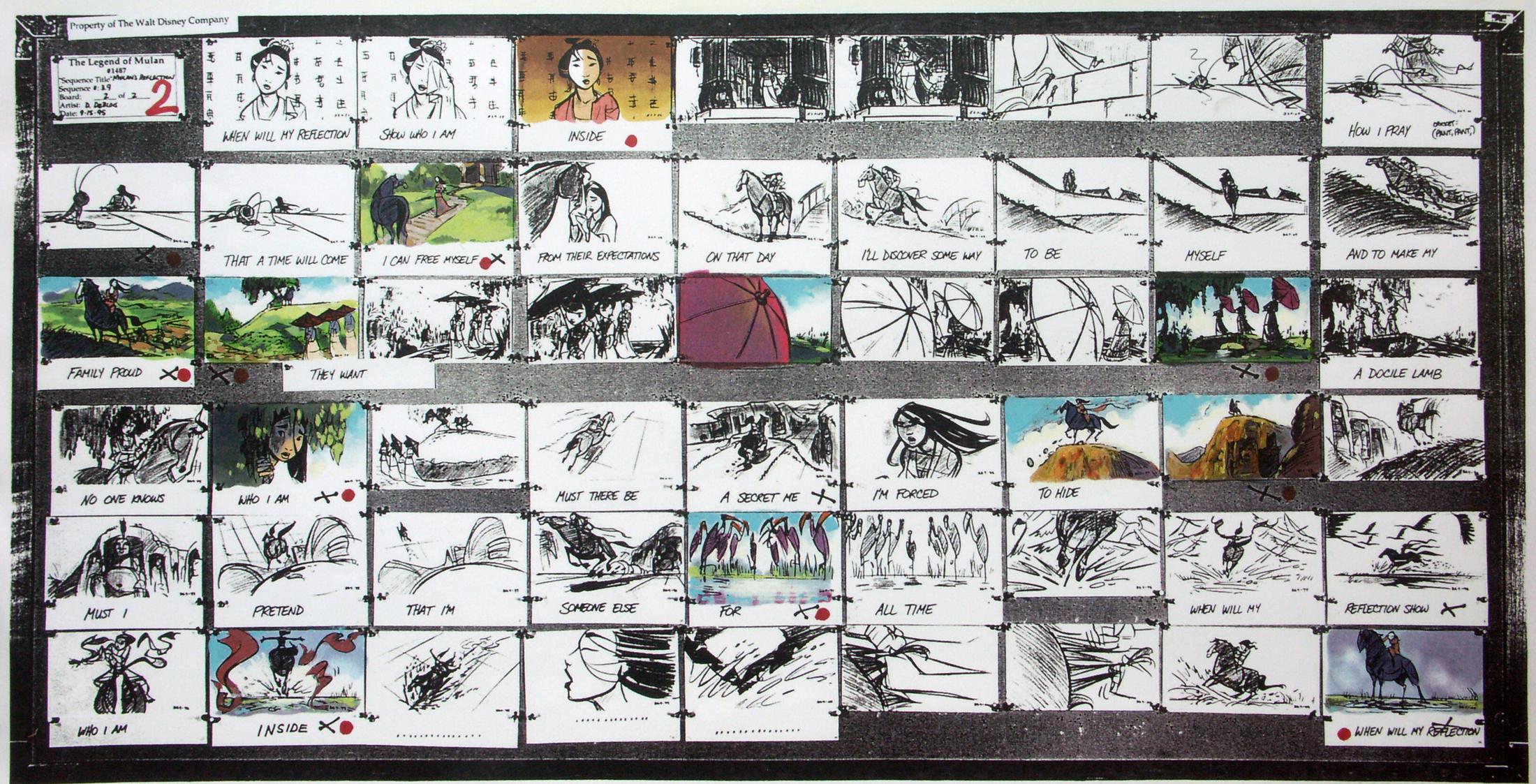 Mulan Reflection storyboards
