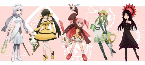 Puella Magi Madoka Magica karatasi la kupamba ukuta called PMMM Witches In Human Form