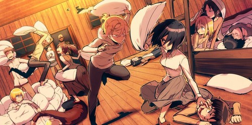 Shingeki no Kyojin (Attack on titan) wallpaper probably with anime titled Pillow Fight!