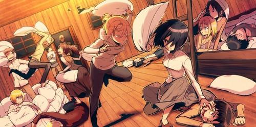 Shingeki no Kyojin (Attack on Titan) Hintergrund probably with Anime called kissen Fight!