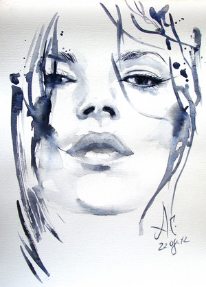 Portrait of Kate Moss kwa Anna Dart