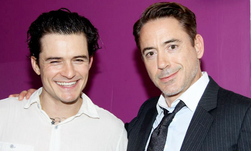 Robert Downey Jr visits Orlando Bloom backstage at Romeo and Juliet on broadway.