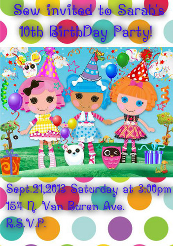 Lalaloopsy wallpaper entitled Sarah's Birthay Invite
