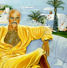 Sean Connery in the Bahama's oil Painting por his wife,Micheline