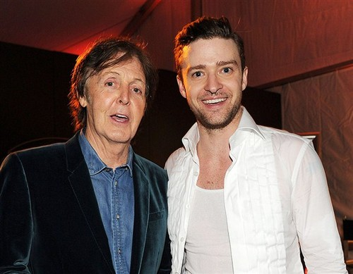 Paul McCartney wallpaper probably containing a well dressed person called Sir Paul Mccartney with his #1 fan, Justin Timberlake!