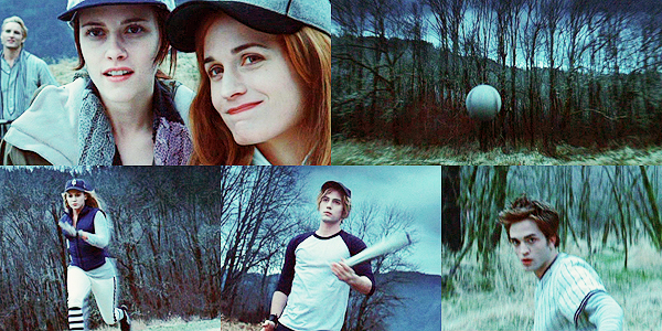 The Cullens and Bella playing baseball