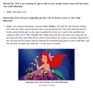 The Little Mermaid Q&A with Jodi Benson (voice of Ariel)