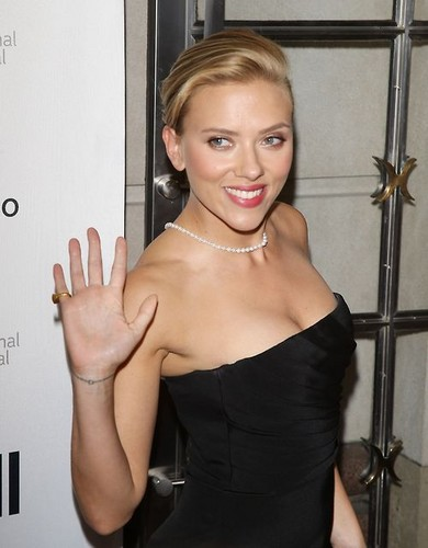 Scarlett Johansson hình nền probably containing a bustier, a cốc-tai, cocktail dress, and a chemise entitled Toronto International Film Festival