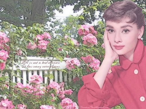 Audrey Hepburn wallpaper with a flowerbed, a japanese maple, and a japanese wistaria titled ...many more thorns