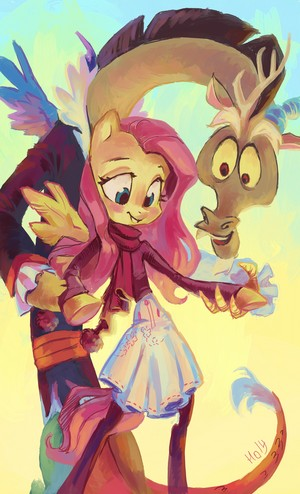 fluttershy and discord on ice