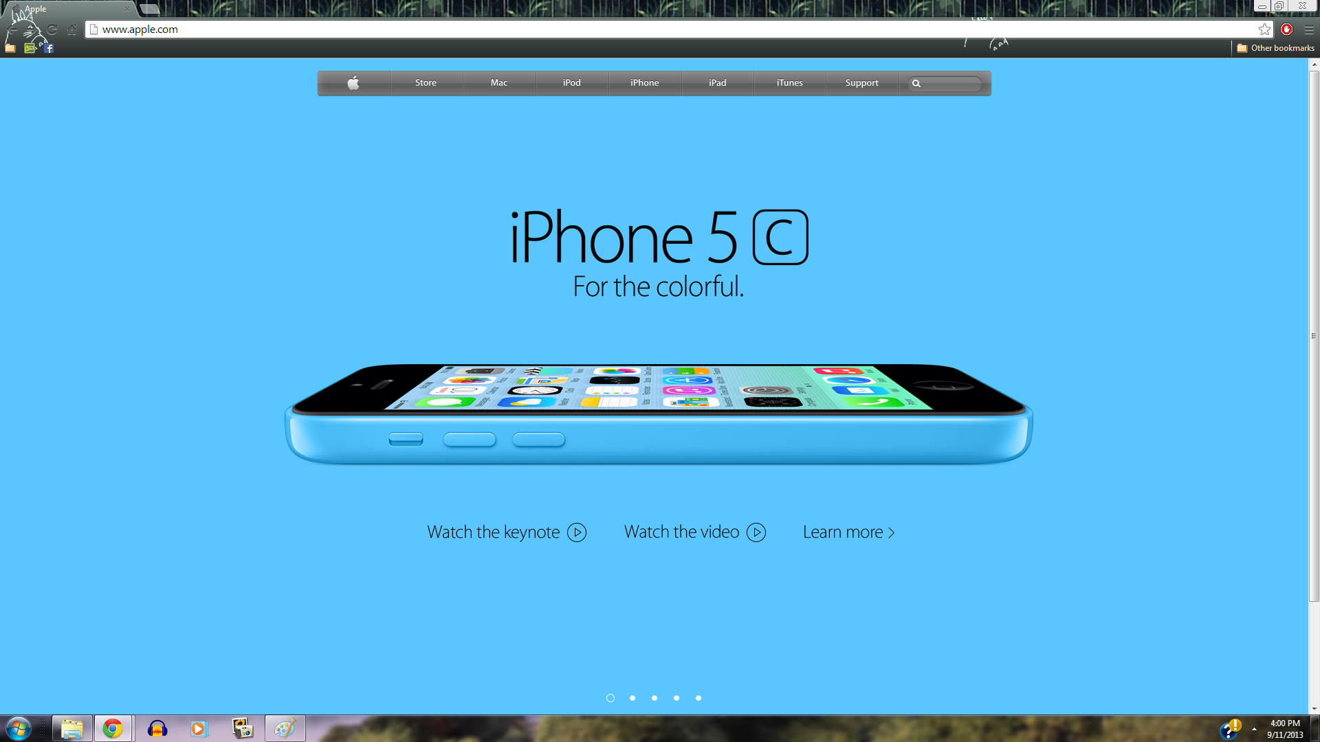 iPhone 5c Blue mela, apple Homepage