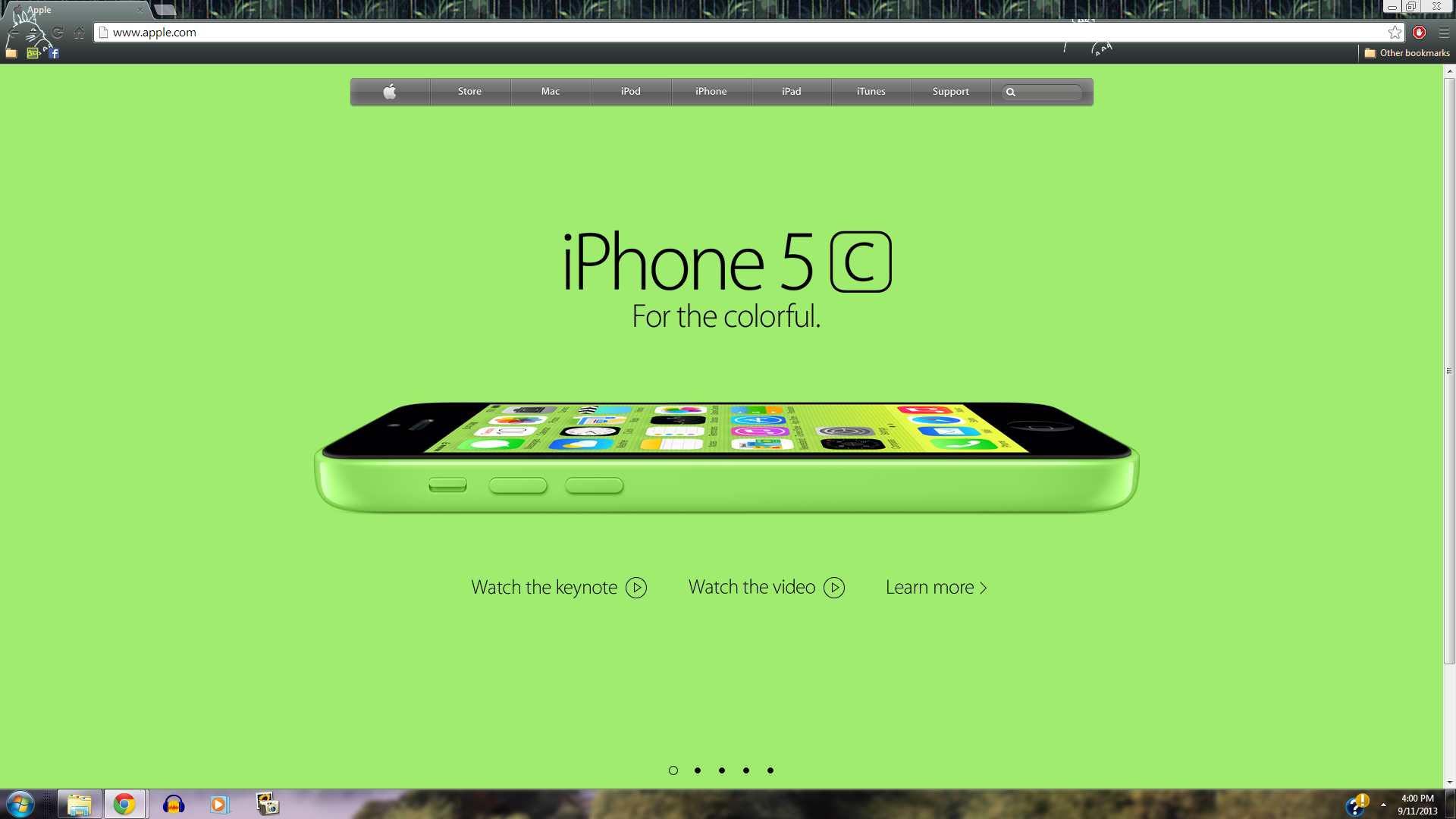 iPhone 5c Green manzana, apple Homepage