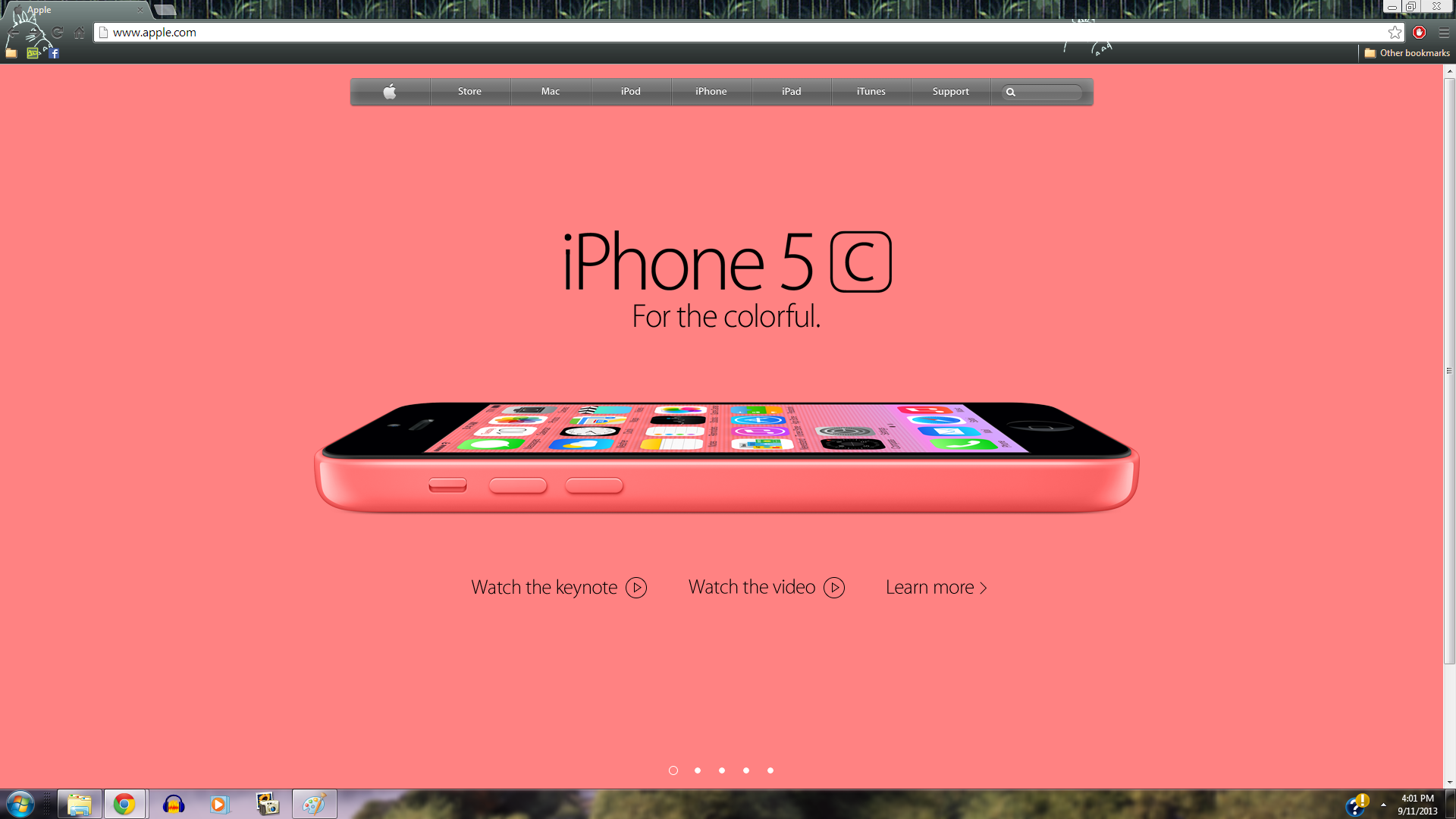 iPhone 5c Pink Apple Homepage