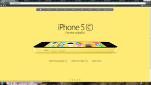 iPhone 5c Yellow яблоко Homepage