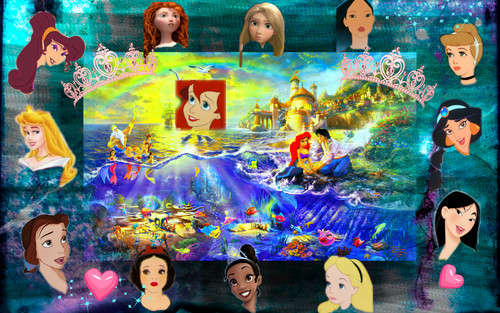 Disney Princess wallpaper possibly containing anime titled princesses and alice and megara