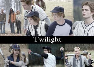 twilight baseball scene