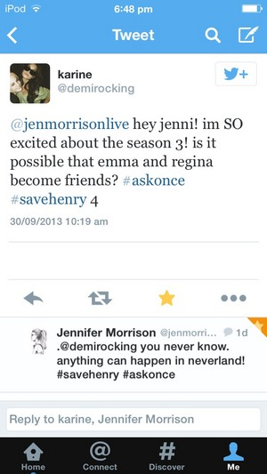 """**•JMO Tweets-""""Emma & Regina May Become دوستوں In S3!""""•**"""