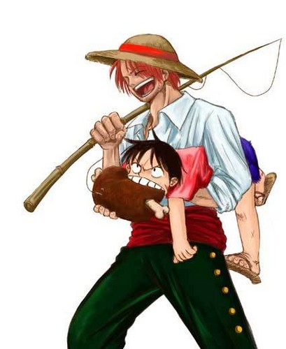 One Piece karatasi la kupamba ukuta possibly with a surcoat called *Shanks & Luffy*