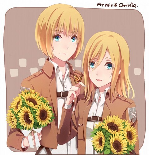 Shingeki no Kyojin (Attack on titan) wallpaper with anime entitled ☤SnK☤(Armin & Christa)