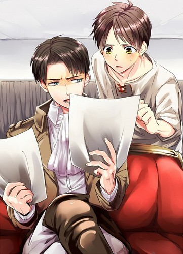 Shingeki no Kyojin (Attack on titan) wallpaper probably containing a portrait titled ☤SnK☤(Eren & Levi)