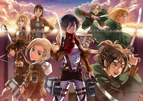 Shingeki no Kyojin (Attack on titan) wallpaper entitled ☤SnK☤(Girls)