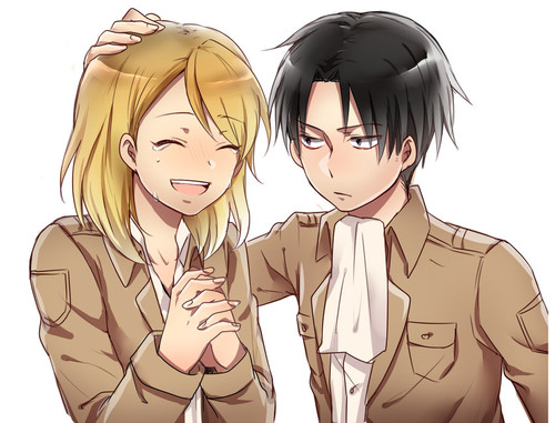 Shingeki no Kyojin (Attack on titan) karatasi la kupamba ukuta possibly with anime called ☤SnK☤(Levi & Petra)