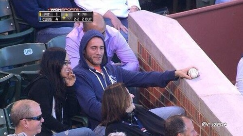 AJ Lee wallpaper probably with a sign, a dumpster, and a tepee titled AJ Lee and CM Punk at a Baseball game