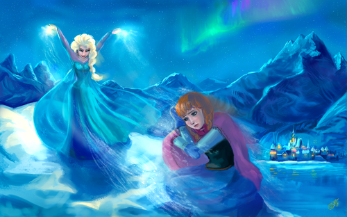 Princess Anna 바탕화면 possibly with a hot tub entitled Anna and Elsa