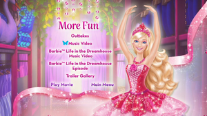 barbie in the rosado, rosa Shoes DVD Menu (More Fun)