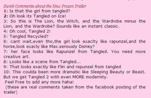 "Dumb 코멘트 About The New ""Frozen"" Trailer"