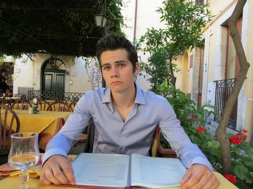 Dylan O'Brien karatasi la kupamba ukuta possibly with a brasserie, a chajio, chakula cha jioni table, and a mitaani, mtaa entitled Dylan O'Brien