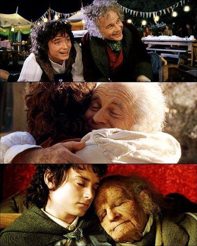 el señor de los anillos fondo de pantalla entitled Frodo and Bilbo