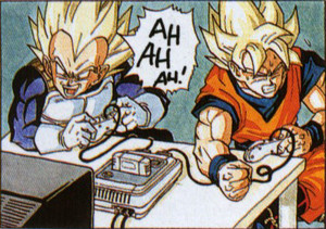 孫 悟空 and Vegeta playing Video Games
