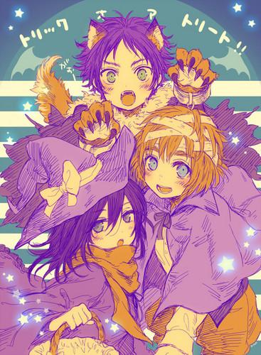 Attack on Titan karatasi la kupamba ukuta containing anime entitled Happy Halloween