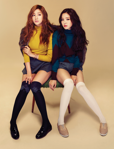 Korea Girls Group A Pink wallpaper probably with a hip boot titled Hayoung & Naeun (A Pink) - Campus 10 Magazine September Issue '13