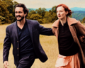 Hugh Dancy and Karen Elson photographed oleh Annie Leibovitz for Vogue