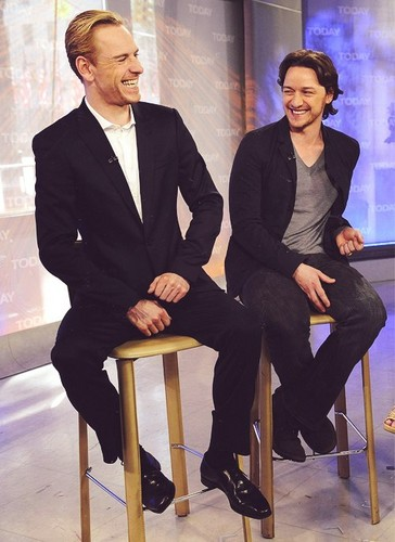 James McAvoy and Michael Fassbender Обои with a business suit, a suit, and a well dressed person titled James and Michael