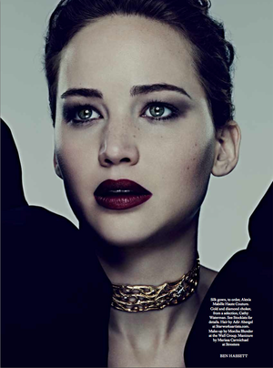 Jennifer Lawrence covers the November issue of Harper's Bazaar UK