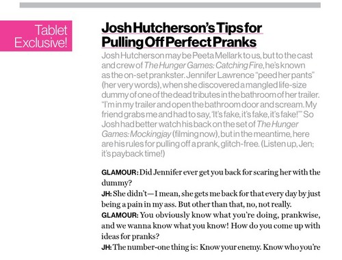 "Josh Hutcherson fond d'écran titled Josh Hutcherson Glamour Magazine Tablet Exclusive ""Tips for Pulling Off Perfect Pranks"""
