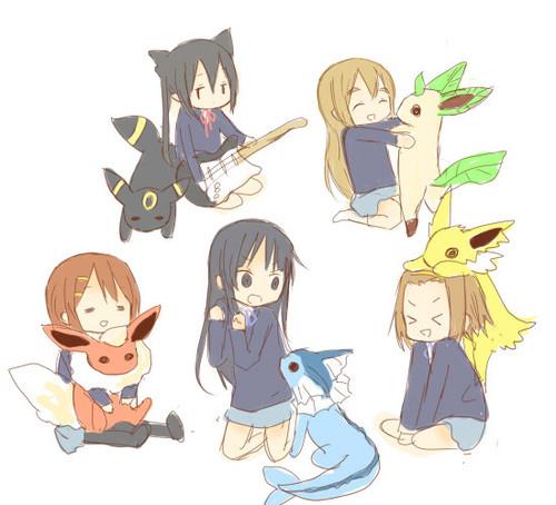 Kawaii Anime wallpaper entitled K-On and Pokemon
