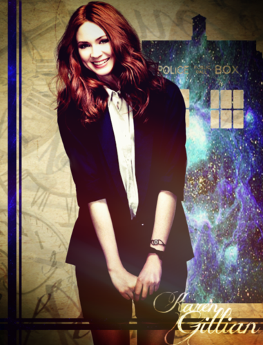 Amy Pond پیپر وال probably with a concert, a well dressed person, and a business suit entitled Karen Gillan