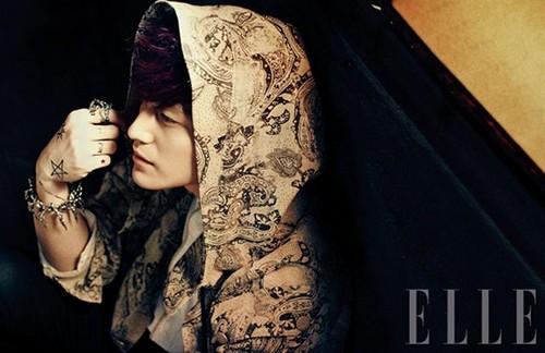 Ким Бом Обои probably with a mantelet and a апостольник, пушистый, плат called Kim Kang Woo & Kim Bum – ELLE Korea March 2013
