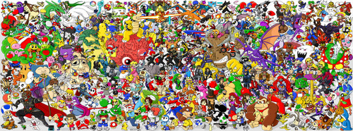 Super Mario Bros. wallpaper with a flowerbed titled LOTS OF PEOPLE!! AHHH!