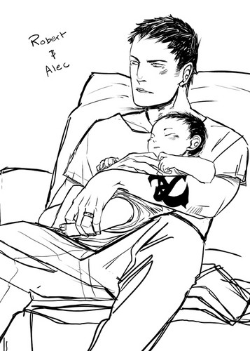 cazadores de sombras fondo de pantalla probably with anime entitled Robert Lightwood holding little baby Alec