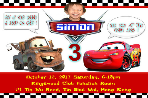 Disney Pixar Cars karatasi la kupamba ukuta called Simon Invitation