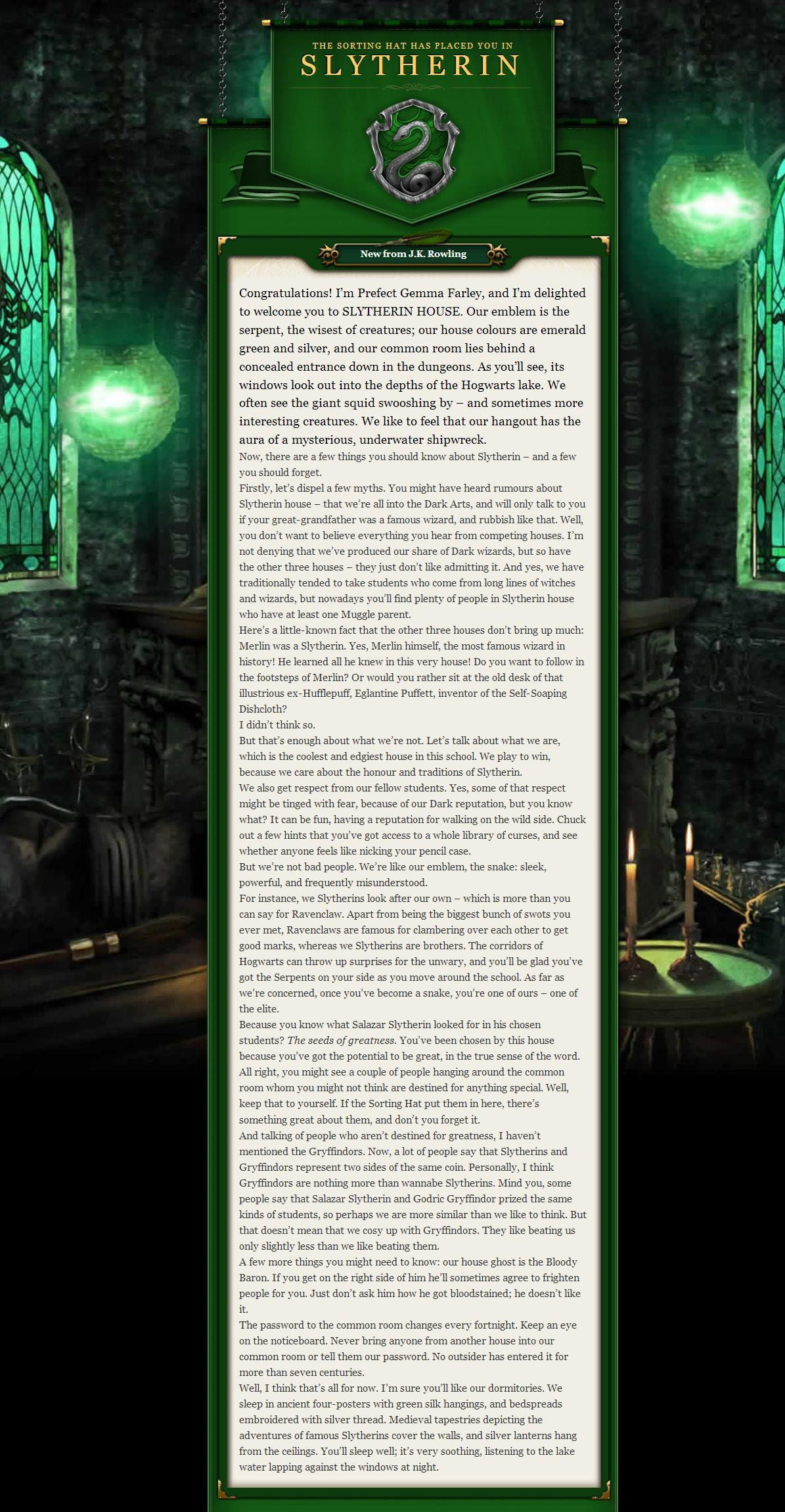 slytherin house welcome letter - photo #1
