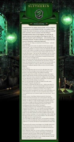 Pottermore Wallpaper Entitled Slytherin Welcome Message