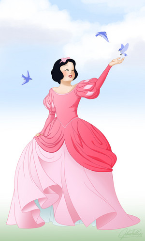 Snow White with Ariel's roze japon, jurk